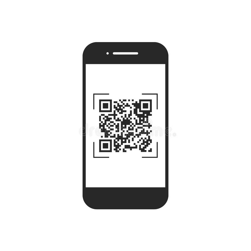 扫描与手机的QR代码,标志, app 电子,数字技术,条形码 也corel凹道例证向量 皇族释放例证