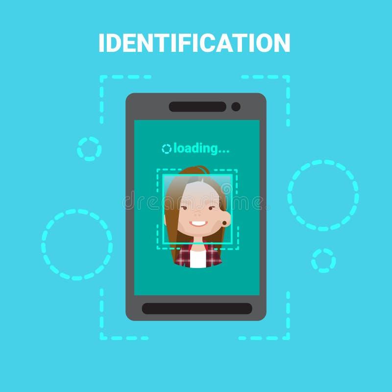 扫描女性用户存取控制现代技术的聪明的电话装货面孔鉴定系统 皇族释放例证
