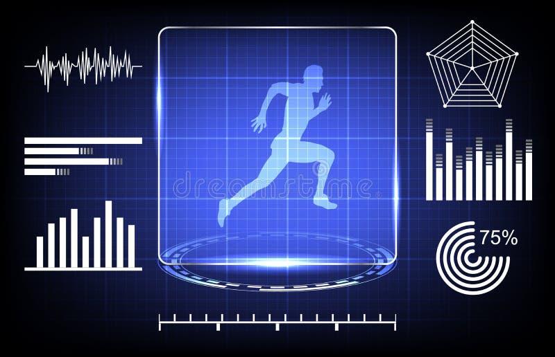 扫描的运动员能力的概念与数字技术接口的 皇族释放例证