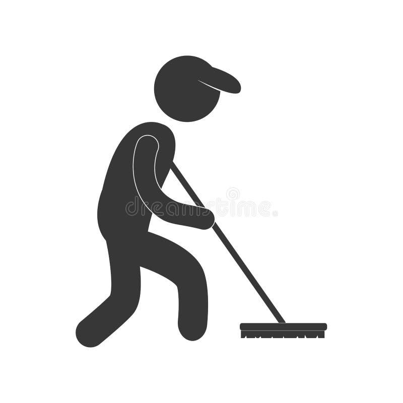 扫除机干净的笤帚形象图表 库存例证
