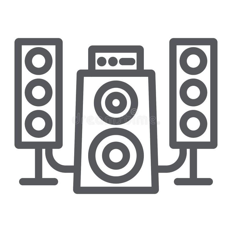 扬声器系统线象,音频和扩音器,音乐系统标志,向量图形,在白色的一个线性样式 向量例证