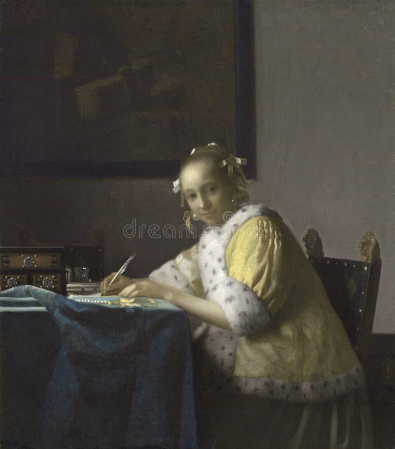 扬・弗美尔扬・弗美尔写c的夫人 1665绘画 库存照片