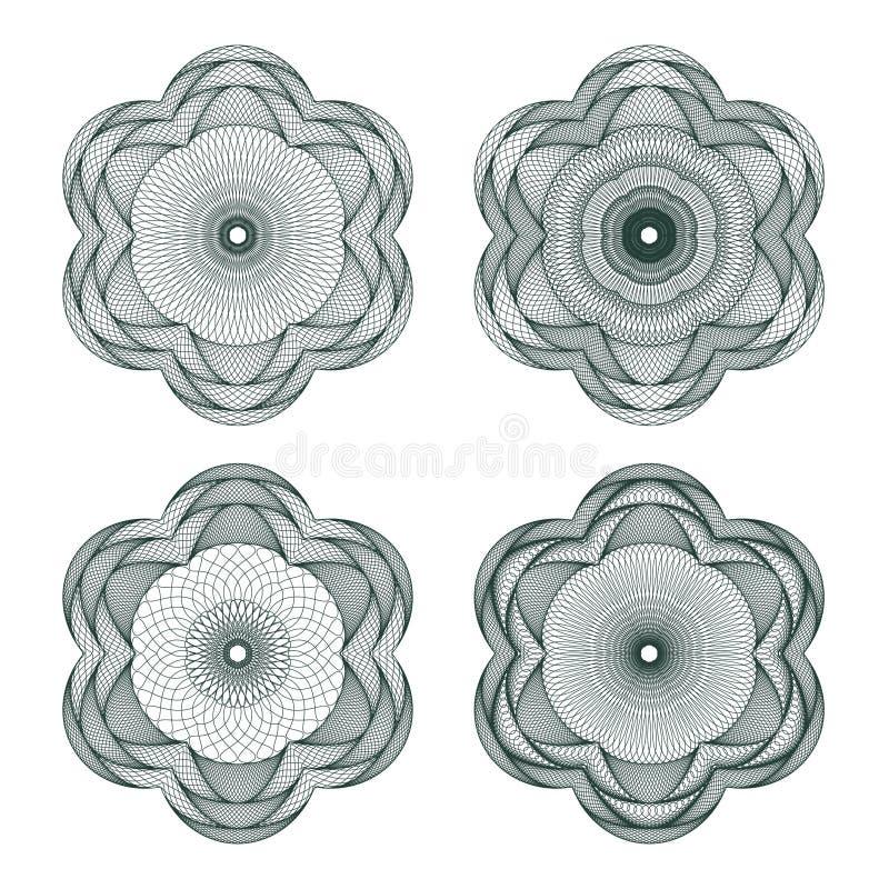 扭索状装饰玫瑰华饰被设置的向量 库存例证