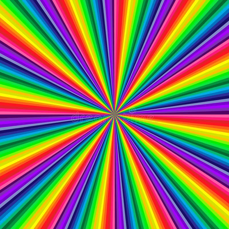 扭转朝中间的生动的彩虹色的漩涡背景  免版税库存图片