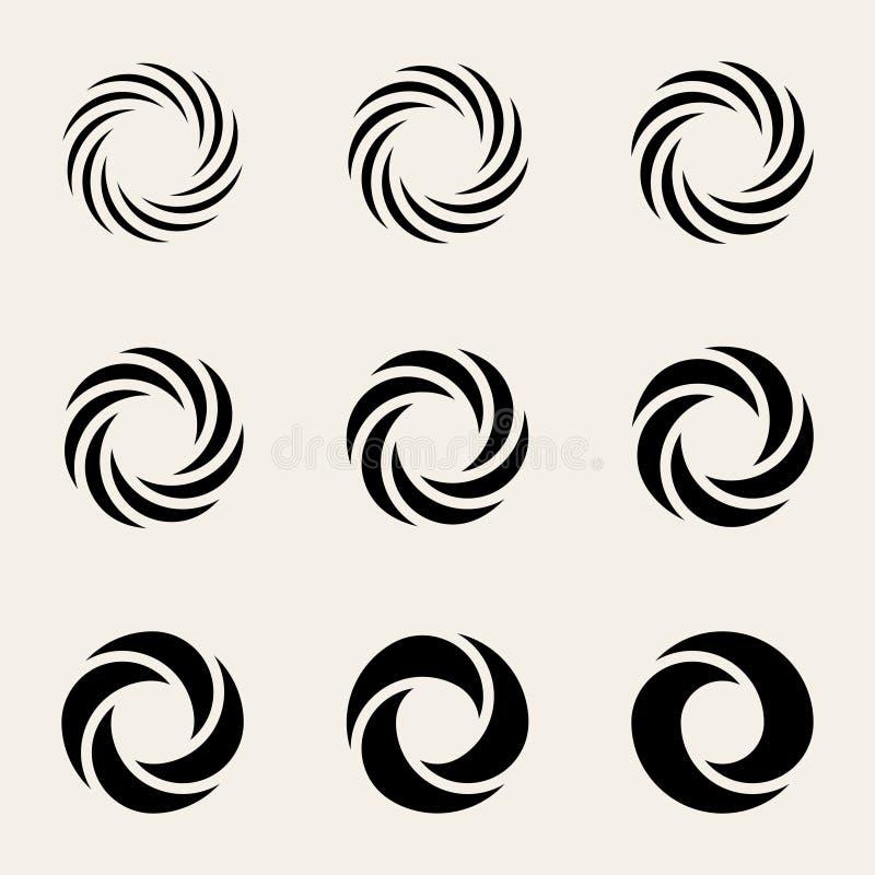 扭转Circes商标设计元素的套九传染媒介 皇族释放例证