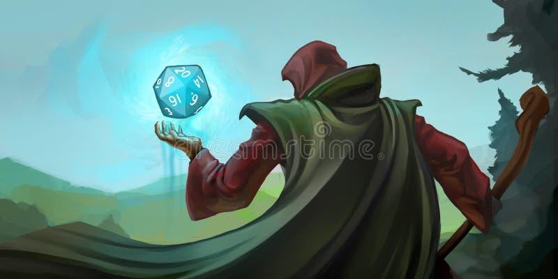 扮演巫术师的角色 向量例证