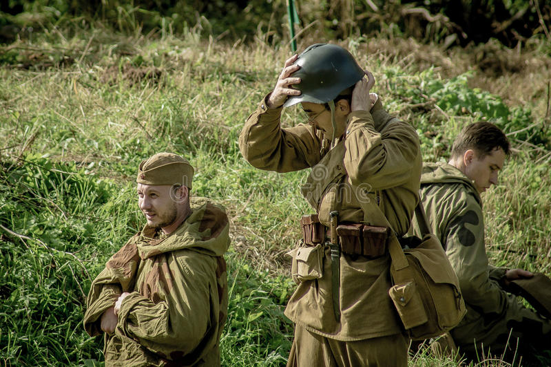 扮演- 1941年世界大战争斗的重建2在俄罗斯的卡卢加州地区 图库摄影