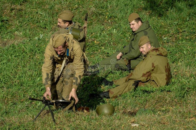 扮演- 1941年世界大战争斗的重建2在俄罗斯的卡卢加州地区 库存照片
