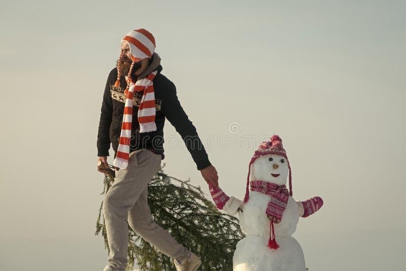 扯拽xmas树的行家在冬日 免版税库存照片