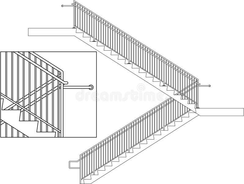扶手栏杆台阶 皇族释放例证