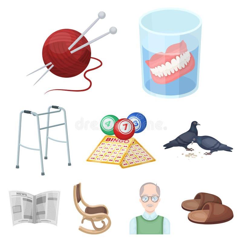 扶手椅子、拖鞋、tonometer和晚年其他属性  在动画片样式传染媒介的晚年集合汇集象 库存例证