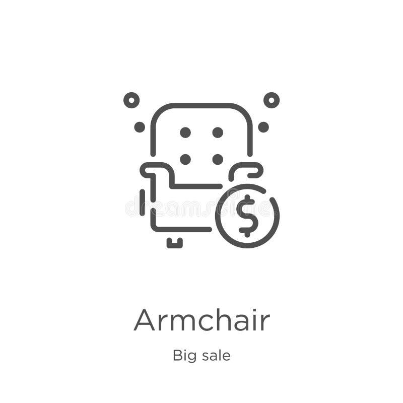 扶手椅子从大销售收藏的象传染媒介 稀薄的线扶手椅子概述象传染媒介例证 概述,稀薄的线扶手椅子 向量例证