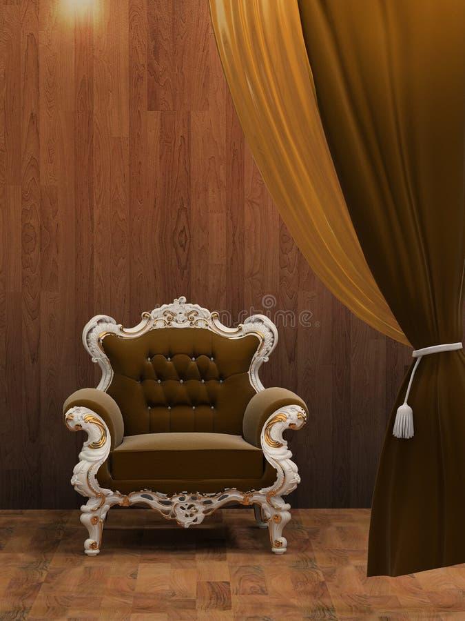扶手椅子内部现代木 向量例证