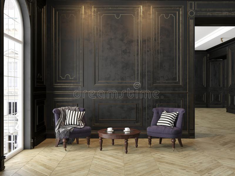 扶手椅子和咖啡桌在经典黑金子内部 皇族释放例证