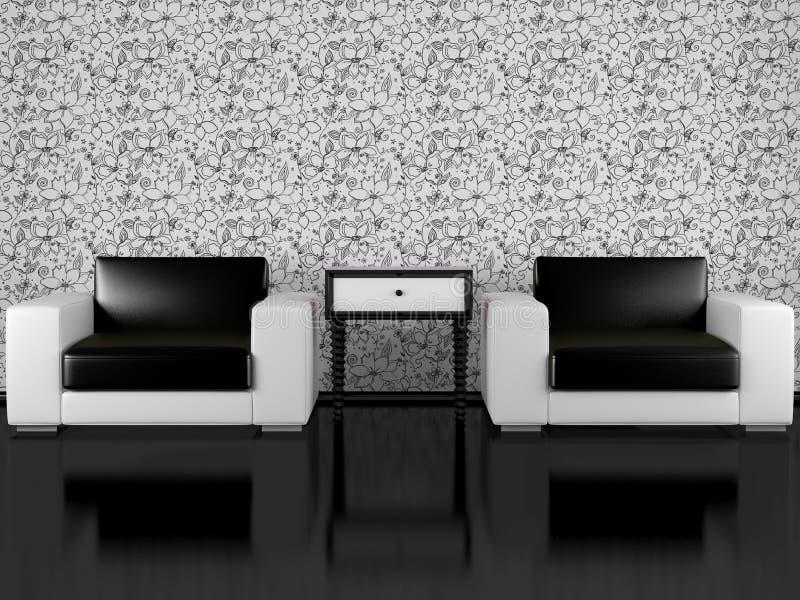 扶手椅子室内生存现代房间二 库存例证