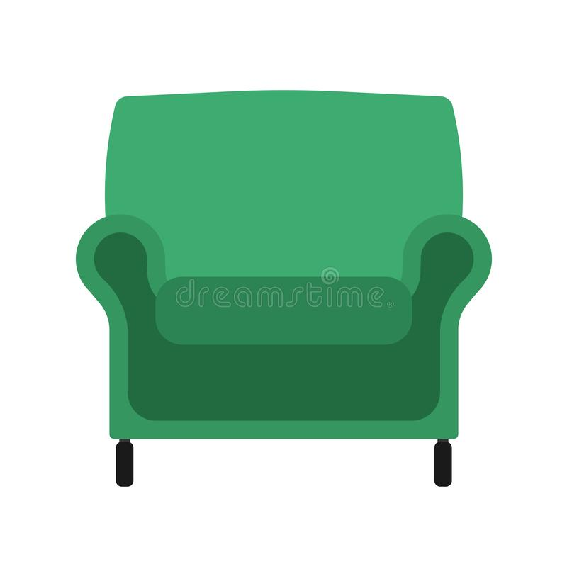 扶手椅子正面图传染媒介例证内部家具 被隔绝的rliving的室动画片象 平室内简单坐 向量例证