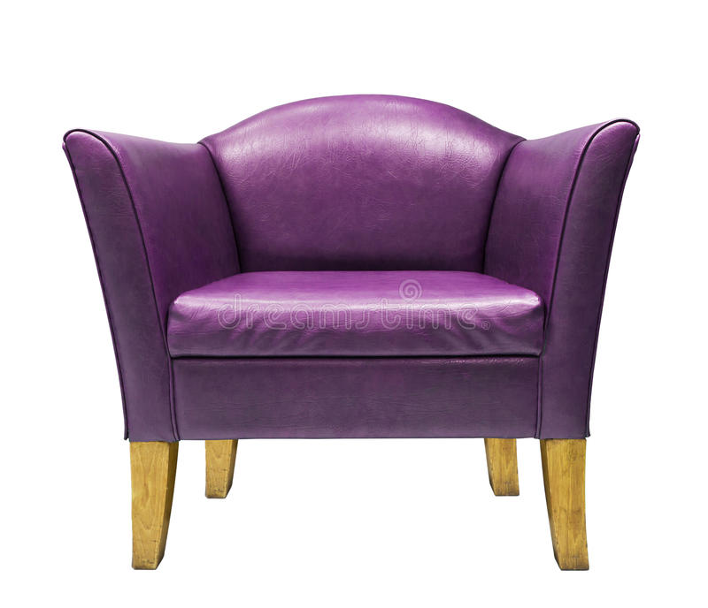 扶手椅子消耗大的皮革紫色 库存图片