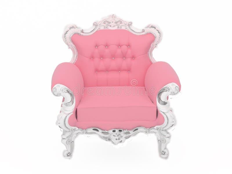 扶手椅子玩偶查出现代粉红色s白色 库存例证