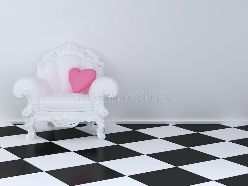 扶手椅子白色 库存例证