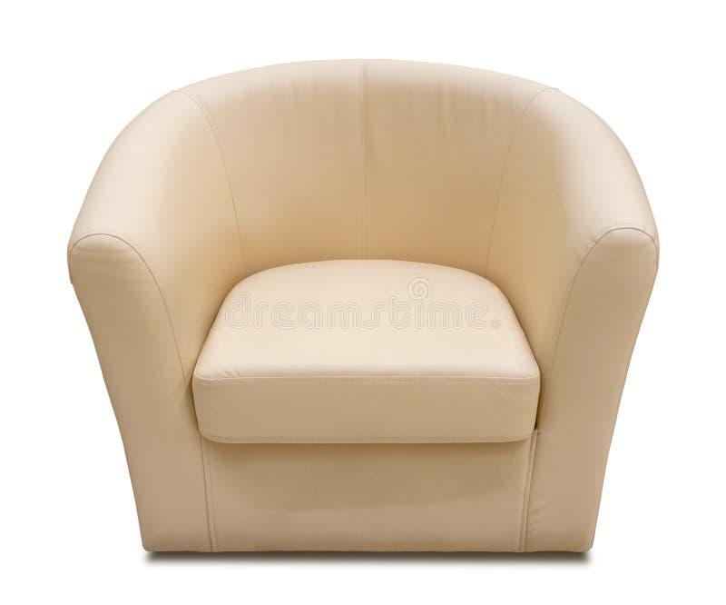 扶手椅子米黄查出的皮革白色 免版税库存照片