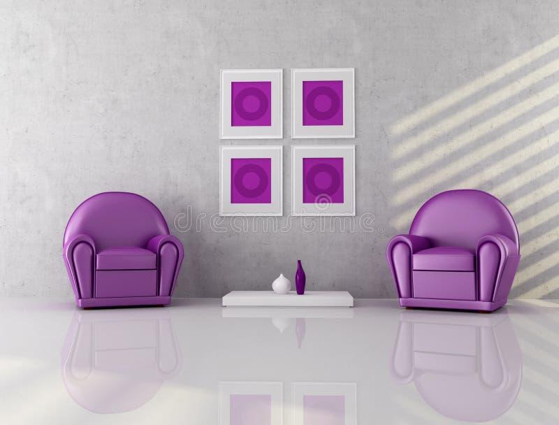 扶手椅子紫色二 向量例证