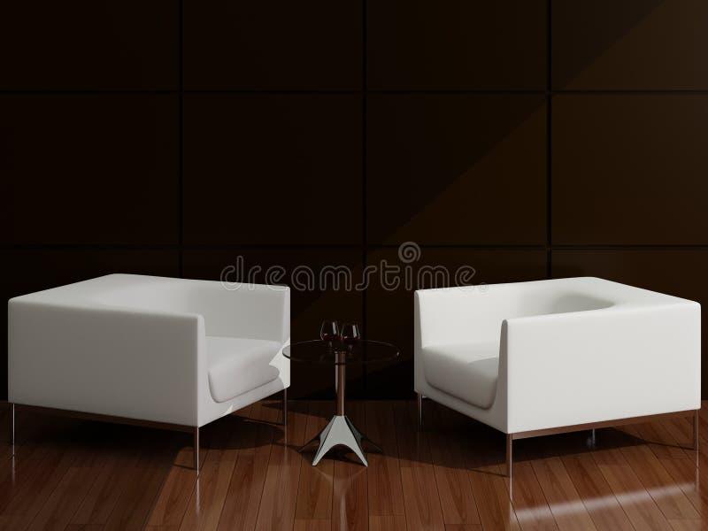扶手椅子绘图室白色 皇族释放例证