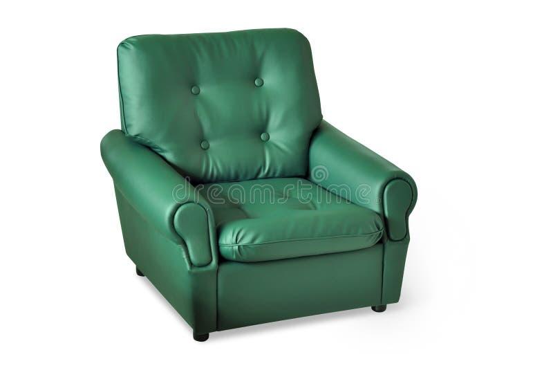 扶手椅子绿色皮革 库存照片