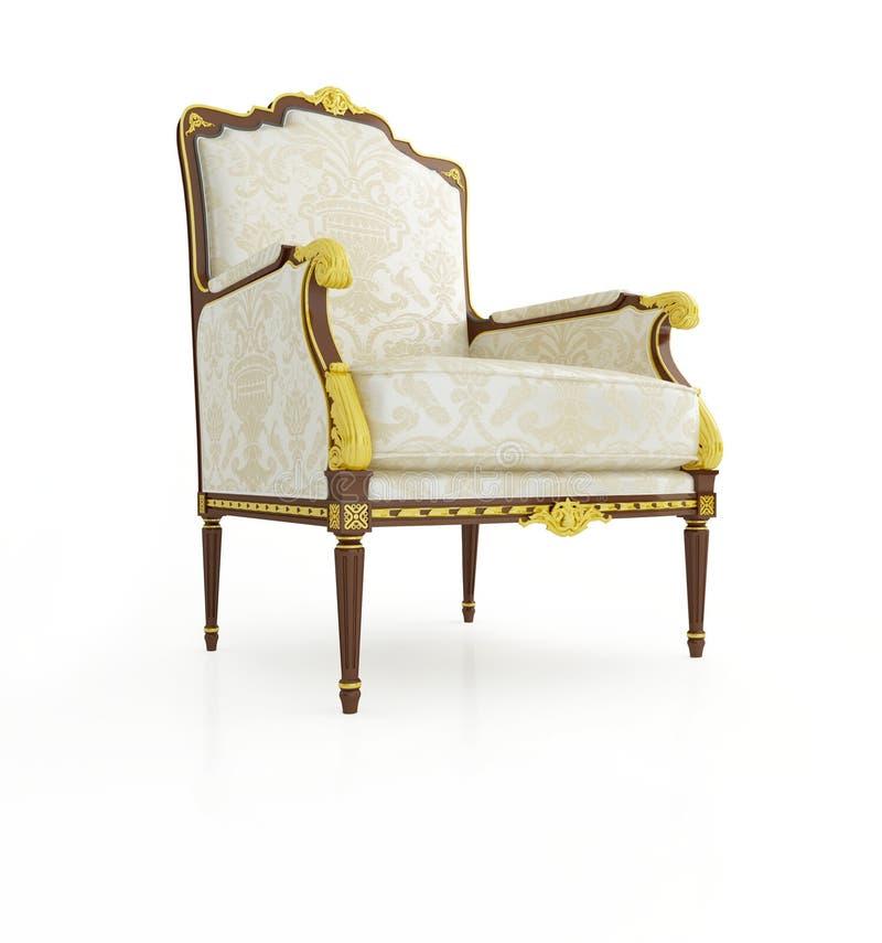 扶手椅子背景古典白色 皇族释放例证