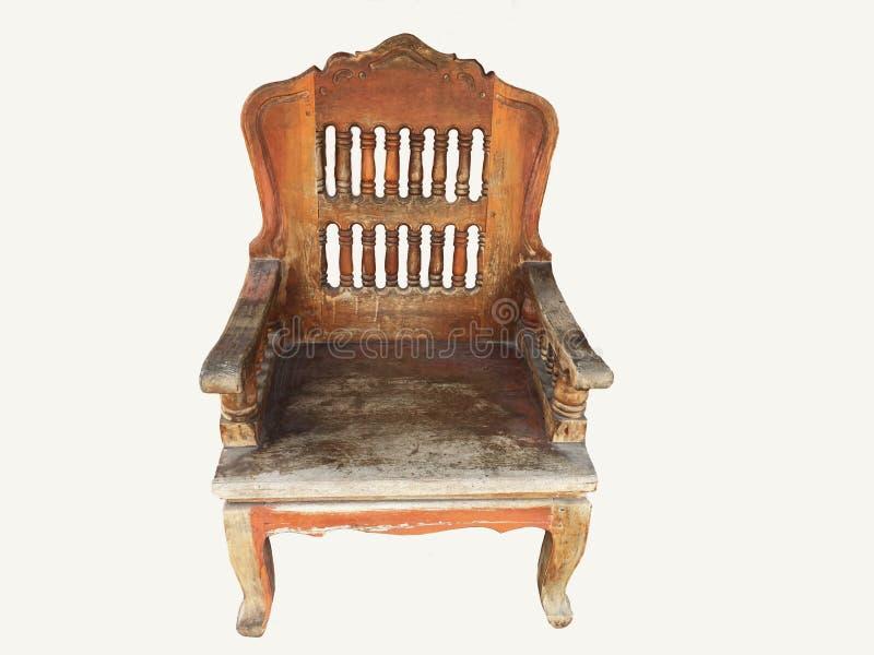 扶手椅子葡萄酒在白色背景隔绝的老牌木 免版税库存图片