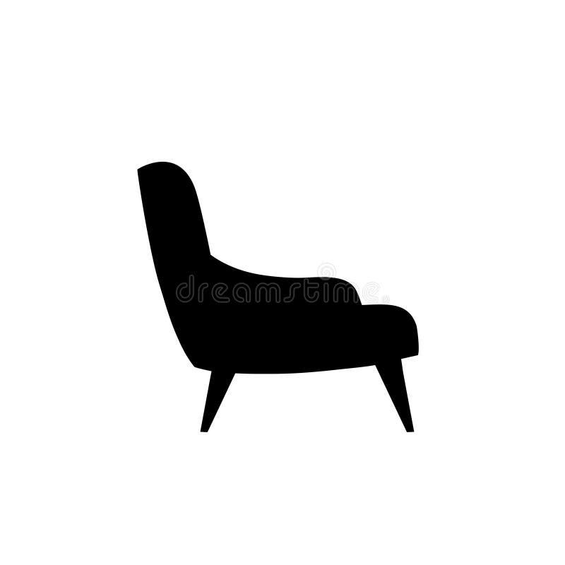 扶手椅子象 家具剪影 向量例证