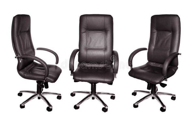 扶手椅子黑色皮革一些 免版税库存图片