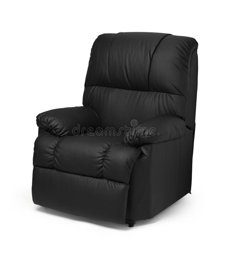 扶手椅子黑色皮革 库存图片