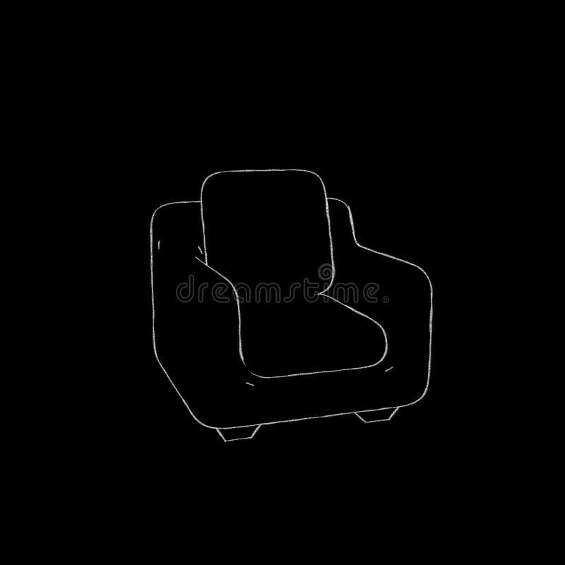 扶手椅子 查出在黑色背景 剪影例证 库存例证