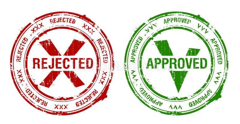 批准和被拒绝的不加考虑表赞同的人 库存例证