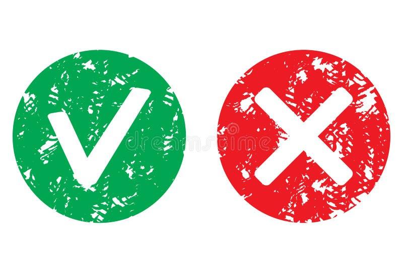 批准并且拒绝标志邮票传染媒介 库存例证