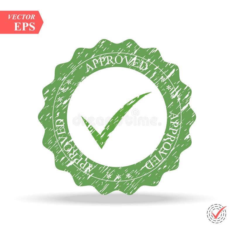 批准的不加考虑表赞同的人标志 - eps10 在白色背景隔绝的绿色检查号象 库存例证