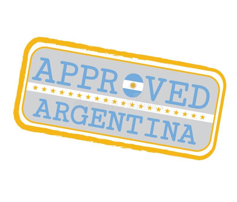 批准的商标传染媒介邮票与阿根廷旗子的以O和文本阿根廷的形式 皇族释放例证
