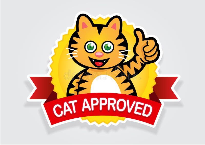 批准的猫密封贴纸 向量例证