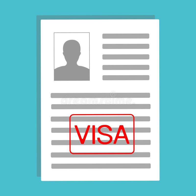 批准的签证申请,平的设计 与个人资料传染媒介例证,平的动画片纸张文件的文件 库存例证