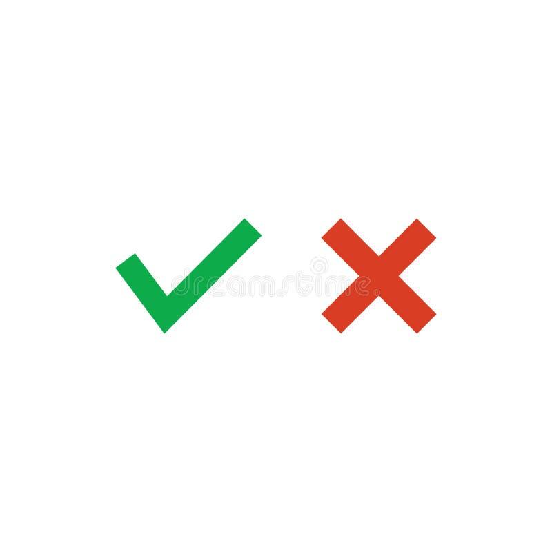 批准的绿色是滴答作响被拒绝的红十字,在白色背景隔绝的传染媒介例证 皇族释放例证