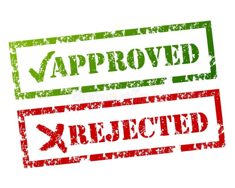 批准的被拒绝的符号 皇族释放例证