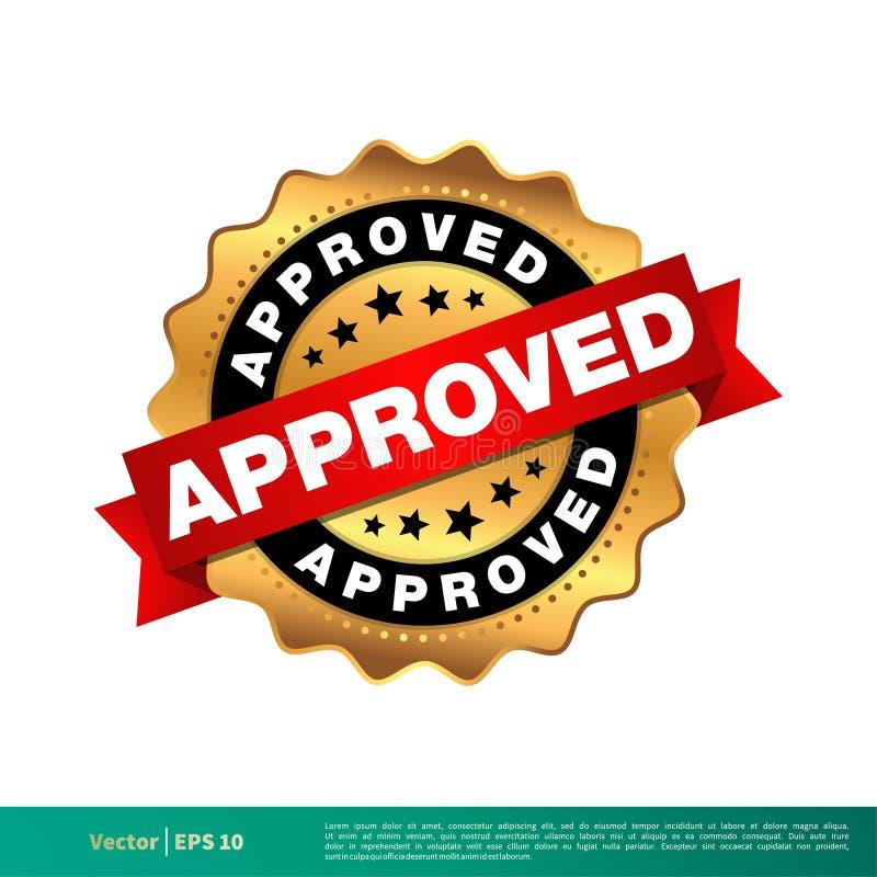 批准的金封印邮票传染媒介模板例证设计 o 向量例证