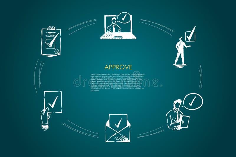 批准-信封,竞选,选择,政客,时事通讯,证明传染媒介概念集合 库存例证