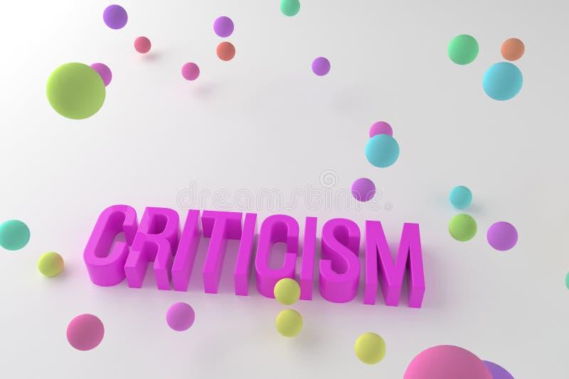 批评,事务概念性五颜六色的3D回报了词 消息、文本、字母表&通信 皇族释放例证