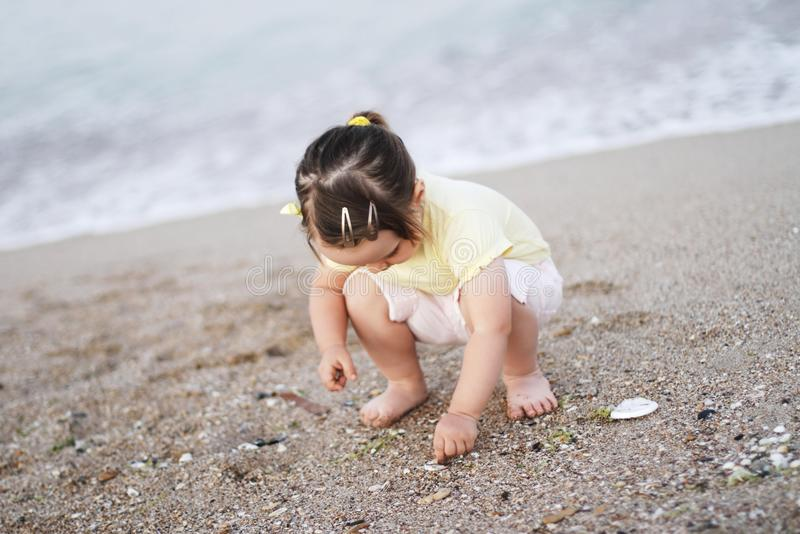 寻找壳的女孩 免版税库存图片