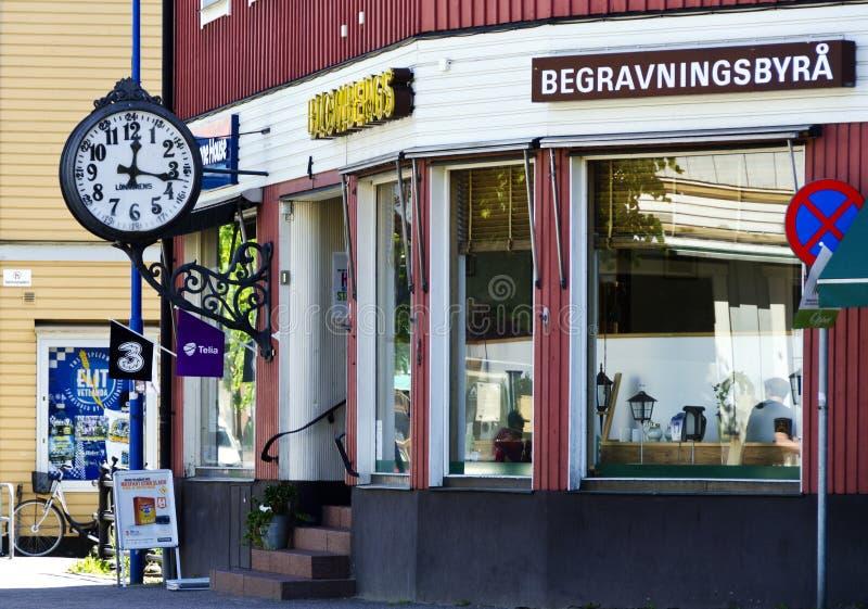 承办人办公室在一个小的瑞典镇 免版税库存图片