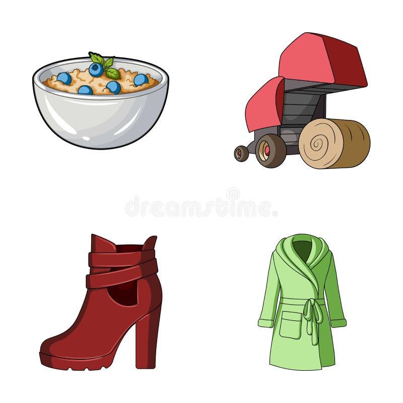 承办酒席、事务、贸易和其他网象在动画片样式 衣物,针织品,食物,在集合汇集的象 库存例证