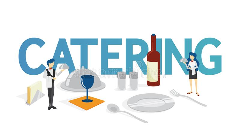 承办酒席概念 食品供应想法在旅馆 向量例证