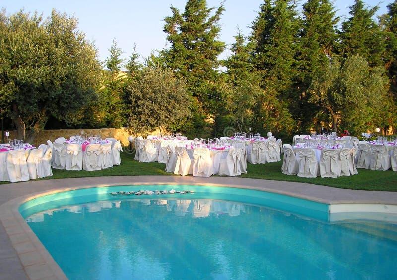 承办酒席设置表婚礼 免版税库存照片
