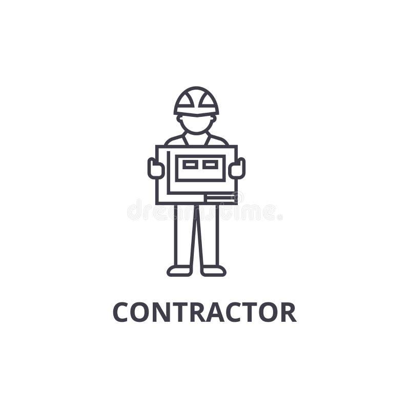 承包商传染媒介线象,标志,在背景,编辑可能的冲程的例证 皇族释放例证
